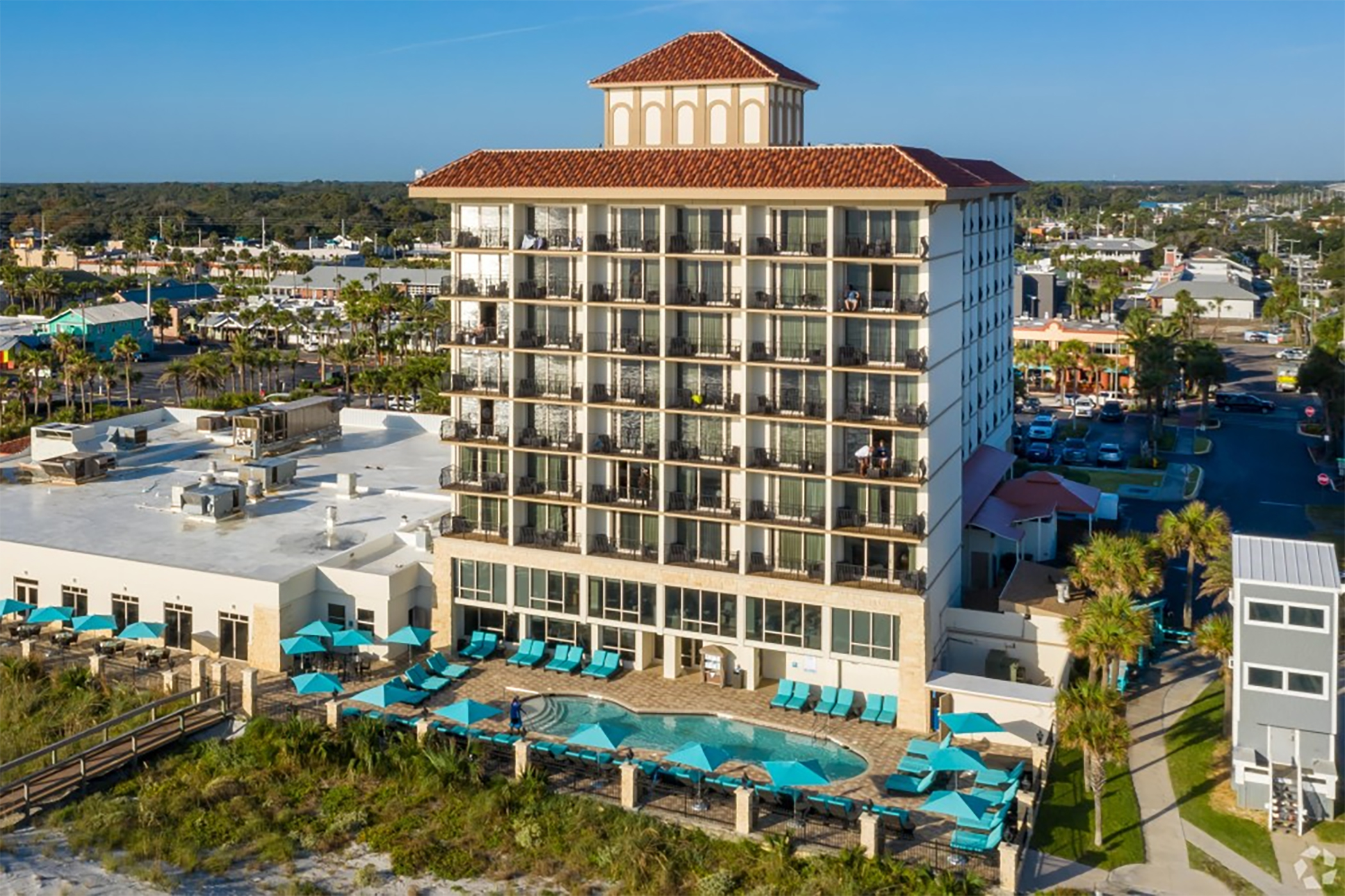 One Ocean Resort, an eight-story, 193-room hotel along the Atlantic Ocean in Jacksonville, Florida, is completely booked for Memorial Day weekend. (CoStar)